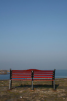 Bench at Bulloch Harbour in Dalkey Dublin Ireland
