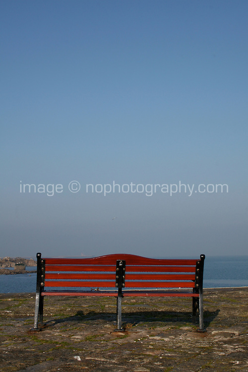 Bench at Bulloch Harbour in Dalkey Dublin Ireland