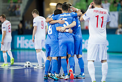 Players of Kazakhstan celebrate goal during futsal match between Poland and Kazakhstan at Day 3 of UEFA Futsal EURO 2018, on February 1, 2018 in Arena Stozice, Ljubljana, Slovenia. Photo by Urban Urbanc / Sportida