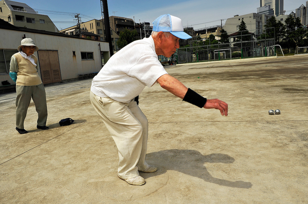 Petanque (boules game) tournament in Tokyo. Tokyo Senior Petanque Club