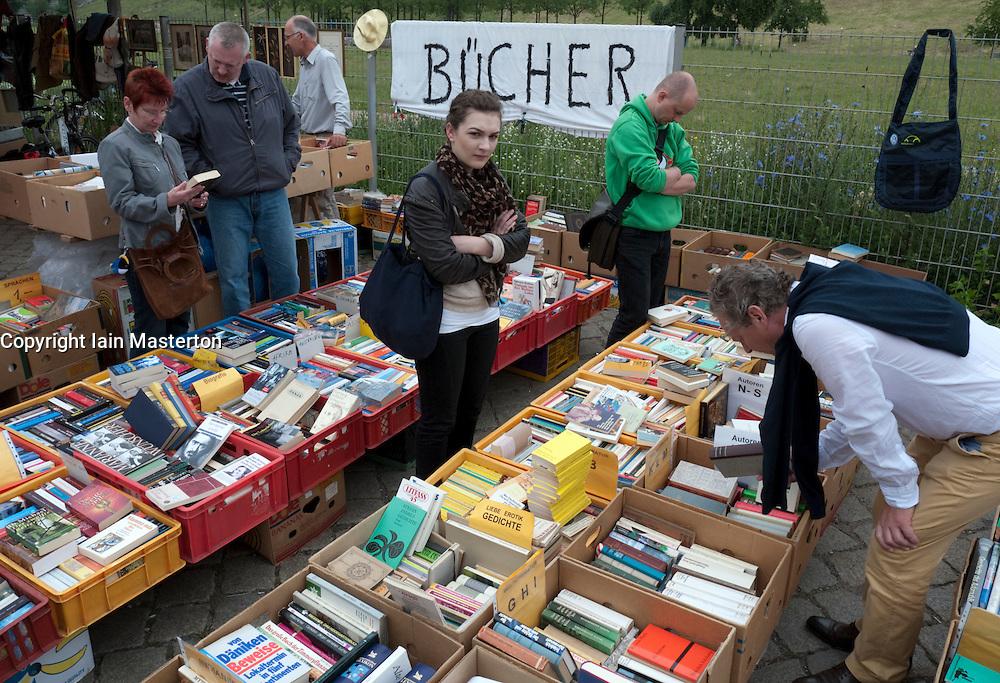 Book stall at weekend market at Mauer Park in Prenzlauer Berg Berlin