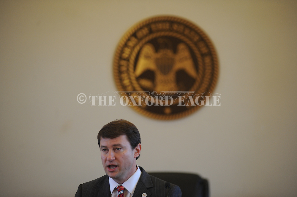 Judge James K. Maxwell, II of the Mississippi Court of Appeals speaks at Drug Court graduation at the Lafayette County Courthouse in Oxford, Miss. on Tuesday, February 10, 2015.