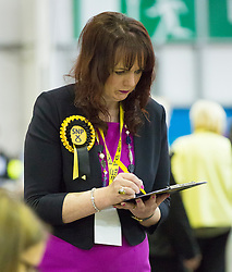 Scottish Parliament Election 2016 Royal Highland Centre Ingliston Edinburgh 05 May 2016; an SNP activist keeps an eye on the postal ballot papers during the Scottish Parliament Election 2016, Royal Highland Centre, Ingliston Edinburgh.<br /> <br /> (c) Chris McCluskie | Edinburgh Elite media