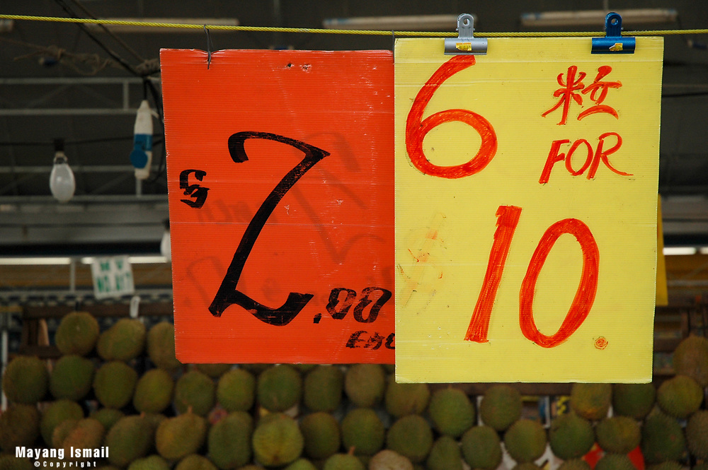 Price banners at Geylang durian stall in Geylang, Singapore