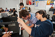 Theater arts students work on a set design project at Carnegie Vanguard High School, April 23, 2013.