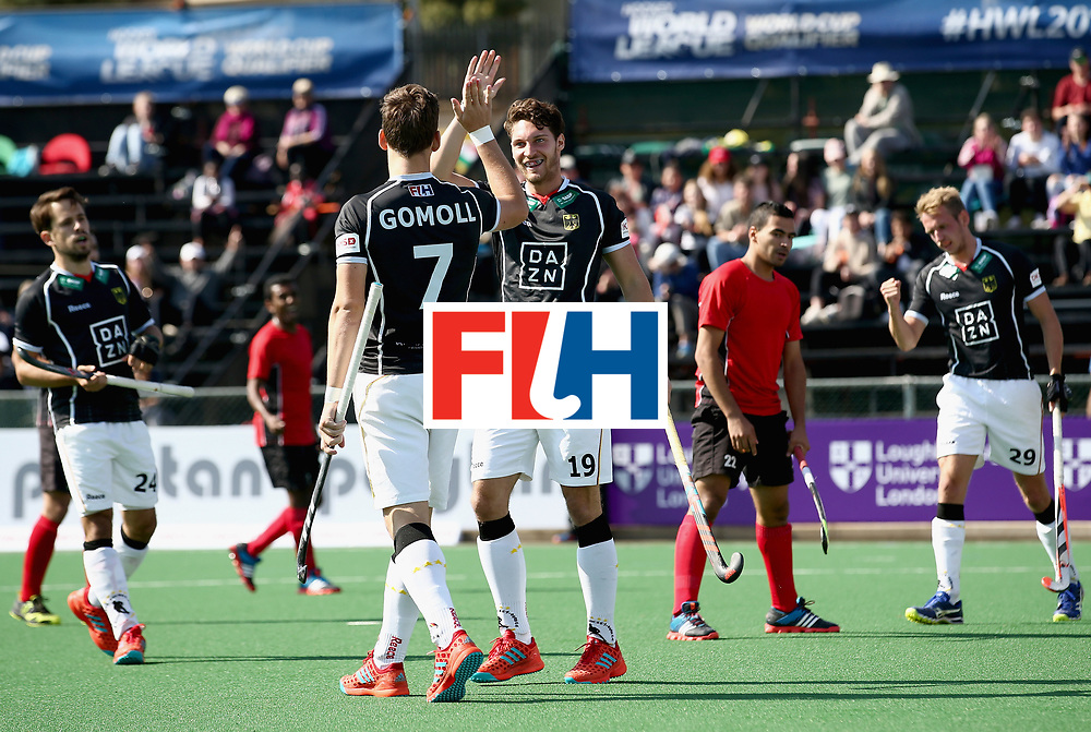 JOHANNESBURG, SOUTH AFRICA - JULY 11: Dieter-Enrique Linnekogel of Germany celebrates scoring their teams third goal with Jonas Gomoll of Germany during day 2 of the FIH Hockey World League Semi Finals Pool B match between Germany and Egypt at Wits University on July 11, 2017 in Johannesburg, South Africa. (Photo by Jan Kruger/Getty Images for FIH)