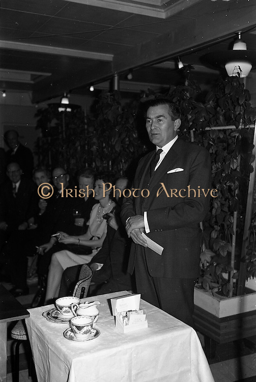 06/04/1963<br /> 04/06/1963<br /> 06 April 1963<br /> Staff presentations to Mr. John D. Ware, departing General Manager of W.D. & H.O. Wills Ireland. Senior staff made presentations of gifts to Mr. Ware at a party at the Zoo, Dublin. Mr. Ware was about to go to Bristol to take up the job of Assistant to W.S.J. Carter who was succeeding to the post of Managing Director of the Firm. Mr. Ware making a speech at the presentation.