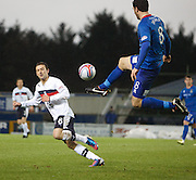 Inverness Caledonian Thistle's Ross Draper  and Dundee's John Baird  - Inverness Caledonian Thistle v Dundee, Clydesdale Bank Scottish Premier League at Tulloch Caledonian Stadium, Inverness.. - © David Young - www.davidyoungphoto.co.uk - email: davidyoungphoto@gmail.com