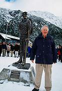 Sir Edmund Hillary unveils bronze statue The Hermitage, Aoraki  Mount Cook National Park