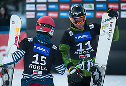 Yankov Radoslav and Dufour Sylvian during the men's Snowboard giant slalom of the FIS Snowboard World Cup 2017/18 in Rogla, Slovenia, on January 21, 2018. Photo by Urban Meglic / Sportida