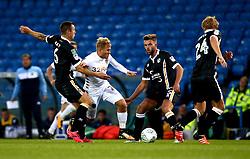 Samu Saiz of Leeds United goes past Antony Kay and Joe Davis of Port Vale - Mandatory by-line: Robbie Stephenson/JMP - 09/08/2017 - FOOTBALL - Elland Road - Leeds, England - Leeds United v Port Vale - Carabao Cup