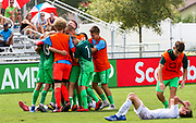 Slovenia celebrates victory as time is called in their game against Canada during a CONCACAF boys under-15 championship soccer game, Saturday, August 10, 2019, in Bradenton, Fla. Slovenia defeated Canada in 2-1 in overtime and advanced to the finals against Portugal. (Kim Hukari/Image of Sport)