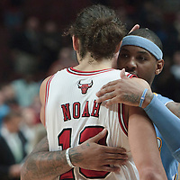 08 November 2010: Denver Nuggets' small forward #15 Carmelo Anthony congratulates Chicago Bulls' center #13 Joakim Noah during the Chicago Bulls 94-92 victory over the Denver Nuggets at the United Center, in Chicago, Illinois, USA.