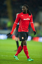 CARDIFF, WALES - Tuesday, February 11, 2014: Cardiff City's Kenwyne Jones in action against Aston Villa during the Premiership match at the Cardiff City Stadium. (Pic by David Rawcliffe/Propaganda)
