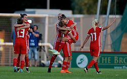 NEWPORT, WALES - Tuesday, June 12, 2018: Wales players celebrate at the final whistle after beating Russia 3-0 during the FIFA Women's World Cup 2019 Qualifying Round Group 1 match between Wales and Russia at Newport Stadium. Rachel Rowe, Hayley Ladd, captain Sophie Ingle, Jessica Fishlock, Loren Dykes, Nadia Lawrence. (Pic by David Rawcliffe/Propaganda)
