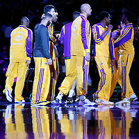 11 April 2014:  The Los Angeles Lakers are seen prior to the Golden State Warriors 112-95 victory over the Los Angeles Lakers at the Staples Center, Los Angeles, California, USA.