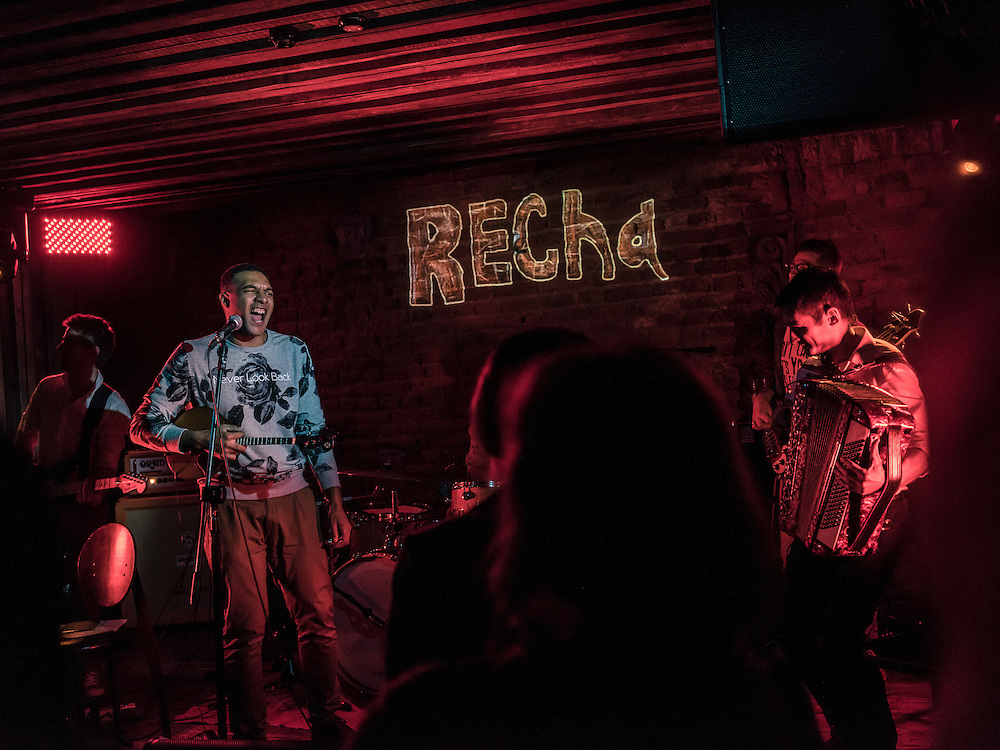 Andrus Takindang, lead singer of the band Recha, performs with the group at TNT Rock Club on Tuesday, November 24, 2015 in Minsk, Belarus.