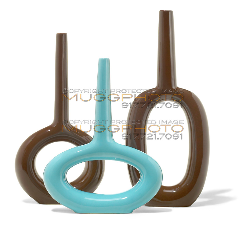 blue and brown vases with a circle cut out of the center