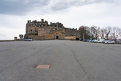 Edinburgh, Scotland, UK. 24 March, 2020.  Deserted streets in the heart of the Old Town tourist district in Edinburgh. All shops and restaurants are closed with very few people venturing outside following the Government imposed lockdown today. Pictured; Empty esplanade at Edinburgh Castle. Iain Masterton/Alamy Live News