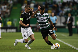 September 20, 2018 - Lisbon, Portugal - Maksim Medvedev of Qarabag FK (L) vies for the ball with Fredy Montero of Sporting (R)  during Europa League 2018/19 match between Sporting CP vs Qarabagh FK, in Lisbon, on September 20, 2018. (Credit Image: © Carlos Palma/NurPhoto/ZUMA Press)