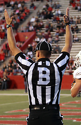 25 October 2014:  Back judge: Justin Staehr signals touchdown during an NCAA Missouri Valley Conference game between the Missouri State Bears and the Illinois State Redbirds at Hancock Stadium in Normal, Illinois.