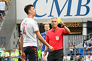 Daniel Ayala (4) of Middlesbrough is shown a yellow card, booked during the EFL Sky Bet Championship match between Cardiff City and Middlesbrough at the Cardiff City Stadium, Cardiff, Wales on 21 September 2019.