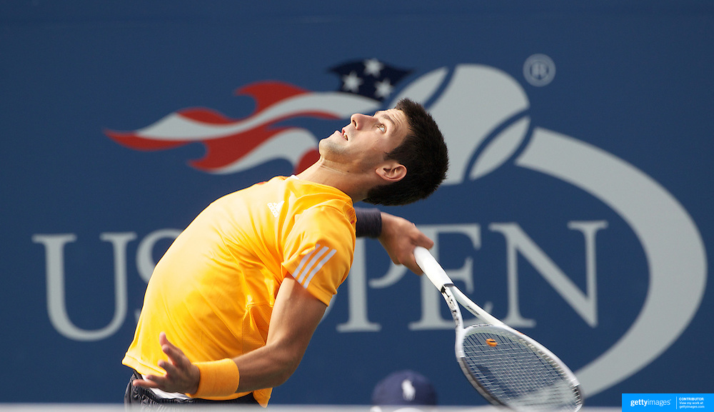Novak Djokovic, Serbia, in action against Fernando Verdasco, Spain, during the US Open Tennis Tournament at Flushing Meadows, New York, USA, on Wednesday, September 9, 2009. Photo Tim Clayton