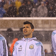 Sergio Aguero, Argentina, in the snow as the teams line up  before the Argentina Vs Ecuador International friendly football match at MetLife Stadium, New Jersey. USA. 31st march 2015. Photo Tim Clayton