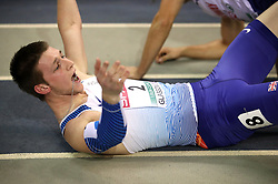 Great Britain's Tim Duckworth celebrates after finding out he won silver at the Men's Heptathlon during day three of the European Indoor Athletics Championships at the Emirates Arena, Glasgow.