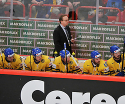 11.05.2012, Ericsson Globe, Stockholm, SWE, IIHF, Eishockey WM, Russland (RUS) vs Schweden (SWE), im Bild, Sverige Sweden tränare Head coach Pär Mårts // during the IIHF Icehockey World Championship Game between Russia (RUS) and Sweden (SWE) at the Ericsson Globe, Stockholm, Sweden on 2012/05/11. EXPA Pictures © 2012, PhotoCredit: EXPA/ PicAgency Skycam/ Simone Syversson..***** ATTENTION - OUT OF SWE *****