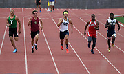 May 19, 2018; Torrance, CA, USA; Colby Bowman of St. John Bosco (center) wins the Division III 200m in a wind-aided 21.81 during the CIF Southern Section Finals  at El Camino College. From left: Mekhi Maya (Inglewood), Kelley Stephens (JSerra), Bowman, Jaloni West (Pasadena) and Robert Thompson (Sultana).