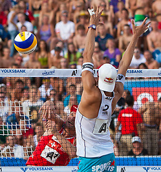 04.08.2011, Klagenfurt, Strandbad, AUT, Beachvolleyball World Tour Grand Slam 2011, im Bild Martin Laciga Schweiz, Matthias Mellitzer AUT, EXPA Pictures © 2011, PhotoCredit EXPA Gert Steinthaler