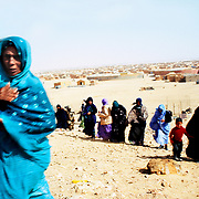 Women going to pray. Western Sahara refugee camps in Tindouf, Algeria