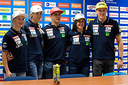 Meta Hrovat, Ana Bucik, Zan Kranjec, Tina Robnik and Stefan Hadalin at press conference of Slovenian Alpine Ski Team, on September 11, 2017 in Smucarska zveza Slovenije, Ljubljana, Slovenia. Photo by Matic Klansek Velej / Sportida