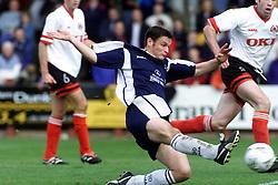 Falkirk's Hutchison celebrates after scoring their first goal, Falkirk v Clyde, 2000..