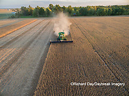 63801-09213 Soybean Harvest, John Deere combine harvesting soybeans - aerial - Marion Co. IL