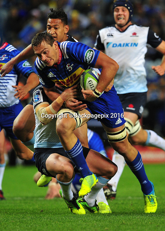 Rynhardt Elstadt of the Stormers tackled by Andrew Kellaway of the Waratahs during the 2016 Super Rugby match between the Stormers and the Waratahs at Newlands Stadium, Cape Town on 30 April 2016  ©Chris Ricco/BackpagePix