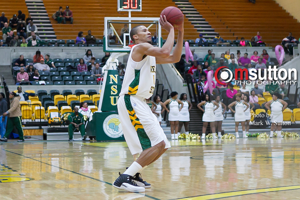 during the Norfolk State - Delaware State 2013 MEAC men's basketball game at Joseph Echols Hall in Norfolk, Virginia.  February 09, 2013  NSU won 74-56.  (Photo by Mark W. Sutton)