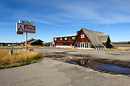 """The famous old """"A Bar"""" on the banks of the Henry's Fork of the Snake River at Last Chance"""