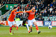 No way through.  Luton Town's Alan Sheehan and Luton Town's Scott Cuthbert prevent Plymouth Argyle's Jamille Matt from getting to the ball for a shot during the Sky Bet League 2 match between Plymouth Argyle and Luton Town at Home Park, Plymouth, England on 19 March 2016. Photo by Graham Hunt.