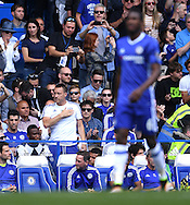 John Terry of Chelsea stands up to applaud the crowd for chanting his name during the Barclays Premier League match against Leicester City at Stamford Bridge, London<br /> Picture by Andrew Timms/Focus Images Ltd +44 7917 236526<br /> 14/05/2016