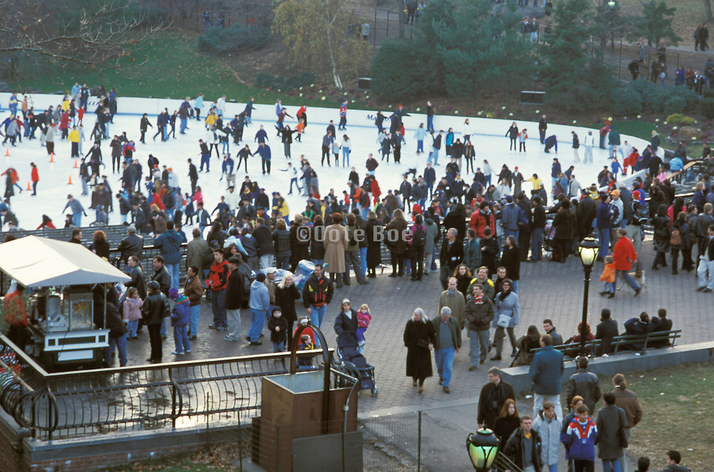Crowded outdoor ice skating rink