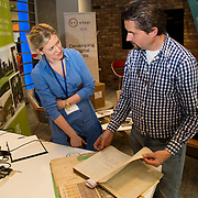 04.04.2017         <br /> Digitisation and Archives professionals from the Gluksman Library University of Limerick presented a talk on Attics to Archives at the Bank of Ireland Workbench for the Limerick Lifelong Learning Festival.<br /> Pictured at the event were, Evelyn McAuley and  Randel Hodkinson who brought a collection of designs from J Hodkinson & Sons Ecclesiastical Decorators dating back as far as 1852. Picture: Alan Place