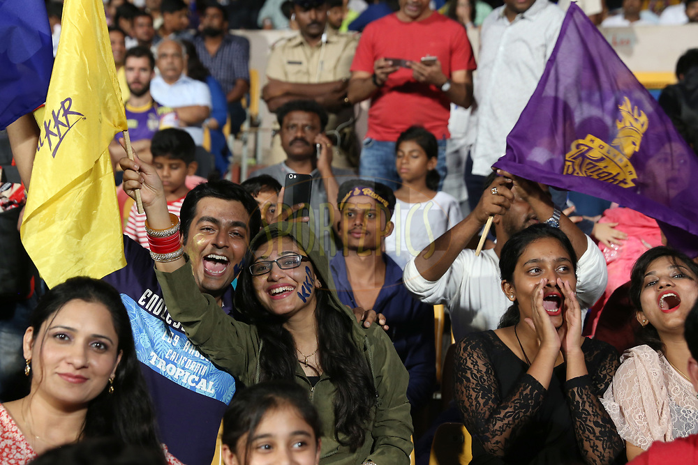 Fans during the 2nd qualifier match of the Vivo 2017 Indian Premier League between the Mumbai Indians and the Kolkata Knight Riders held at the M.Chinnaswamy Stadium in Bangalore, India on the 19th May 2017<br /> <br /> Photo by Faheem Hussain - Sportzpics - IPL