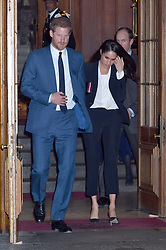 Prince Harry and Meghan Markle leave after attending the annual Endeavour Fund Awards at Goldsmiths' Hall in London, which celebrates the achievements of wounded, injured and sick servicemen and women who have taken part in sporting and adventure challenges over the last year.