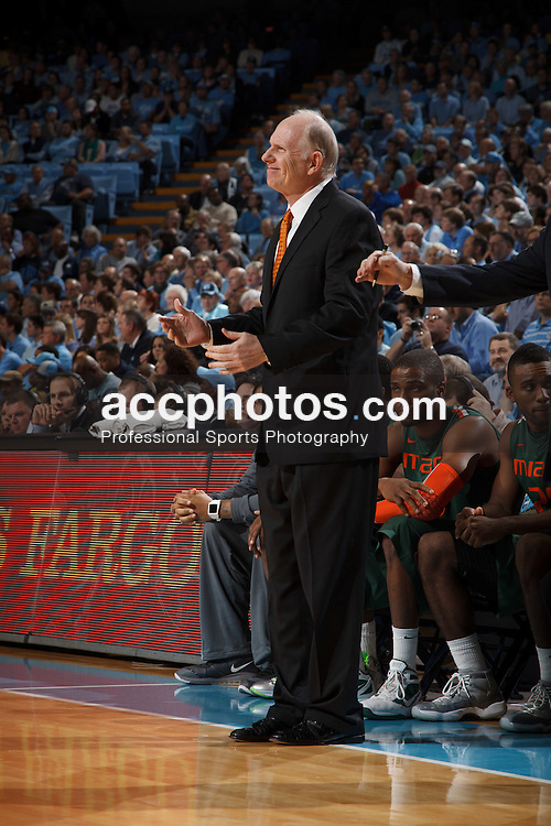 CHAPEL HILL, NC - JANUARY 10: Head coach Jim Larranaga of the Miami Hurricanes coaches during a game against the North Carolina Tar Heels on January 10, 2012 at the Dean E. Smith Center in Chapel Hill, North Carolina. North Carolina won 56-73. (Photo by Peyton Williams/UNC/Getty Images) *** Local Caption *** Jim Larranaga