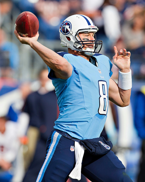 NASHVILLE, TN - NOVEMBER 4:  Matt Hasselbeck #8 of the Tennessee Titans throws a pass against the Chicago Bears at LP Field on November 4, 2012 in Nashville, Tennessee.  The Bears defeated the Titans 51-20.  (Photo by Wesley Hitt/Getty Images) *** Local Caption *** Matt Hasselbeck