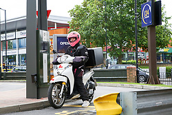 © Licensed to London News Pictures. 04/06/2020. London, UK. A delivery driver arrives at McDonald's Drive Thru in north London. McDonald's Drive Thru opens in Haringey after lockdown restrictions are relaxed. Photo credit: Dinendra Haria/LNP