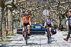 Evelyn Stevens and Megan Guarnier make their way to sign in - Emakumeen Bira 2016 Stage 2 - A 109 km road stage from Extarri Arantz to Urkiola, Spain on 15th April 2016.
