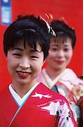 Mariko Tsunekawa and her friend Kikuko Taguchi are dressed in Japanese ceremonial garb in Nagoya, Japan. MODEL RELEASED